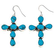 Chaco Canyon Blue Kingman Turquoise Sterling Silver Cross Earrings