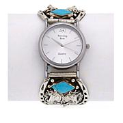 """Chaco Canyon Kingman Turquoise """"Horse"""" Sterling Silver Bracelet Watch"""