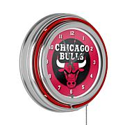 Chicago Bulls Double Ring Neon Clock