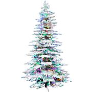 Christmas Time 6.5' Snowy Artificial Christmas Tree, MultiColor Lights