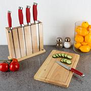 Classic Cuisine Stainless Steel 7-piece Cutting Board Knife Block Set