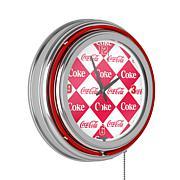 Coca-Cola Checkered Neon Clock - Two Neon Rings