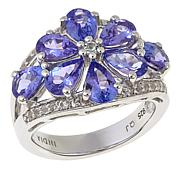 Colleen Lopez 3.24ctw Tanzanite and White Topaz Flower Ring