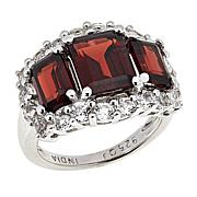 Colleen Lopez 6.55ctw Garnet and White Topaz 3-Stone Ring