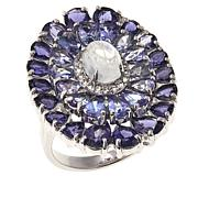 Colleen Lopez Moonstone  and Multigemstone Sterling Silver Oval Ring