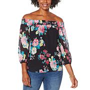 Colleen Lopez Smocked Off-the-Shoulder Peasant Top
