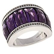 Colleen Lopez Sterling Silver Amethyst and White Zircon Ring