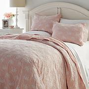 Cottage Collection Blush Lace Overlay 3-piece Quilt Set