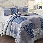 Cottage  Denim Patchwork 100% Cotton 3pc Quilt Set