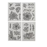 Crafter's Companion Fabulous Florals Clear Stamps 4-pack