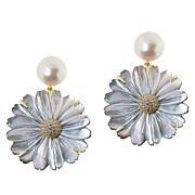Cristina Sabatini Gold-Tone Gardenia Multi-Gem Convertible Earrings