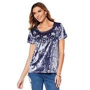 Curations Crushed Velvet Embroidered Tee