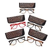 Daisy Fuentes Leopard 5-pack Blue Light Round Readers