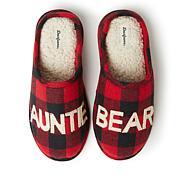Dearfoams Women's Buffalo Check Auntie Bear Clog Slipper
