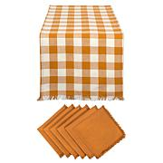 Design Imports 7-Piece Heavyweight Check Fringed Table Set