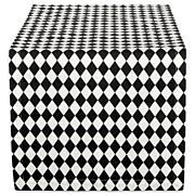 """Design Imports Black and Cream Harlequin Table Runner 14"""" by 108"""""""