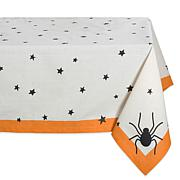 Design Imports Halloween Black Stars Tablecloth