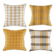 Design Imports Mixed Plaid Pillow Covers 18x18 Set of 4