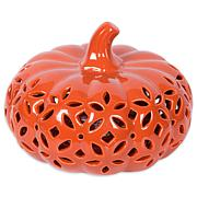 Design Imports Orange Lattice Ceramic LED Pumpkin