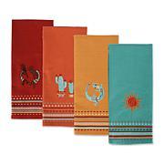 Design Imports Southwest Embellished Kitchen Towel Set of 4