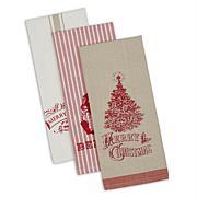 Design Imports Vintage Christmas Kitchen Towels Set of 3