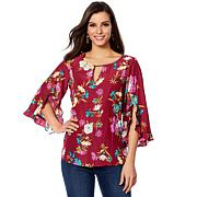 DG2 by Diane Gilman Keyhole Blouse with Ruffle Sleeve
