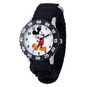 Disney Mickey Mouse Kid's Black Bezel Time Teacher w/ Nylon Strap