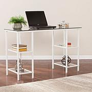Drysdon Metal/Glass Writing Desk - White