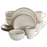 Elama Honey Ivory 16-Piece Stoneware Dinnerware Set in Ivory