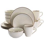 Elama Honey Ivory 16-Piece Stoneware Dinnerware Set in Ivory