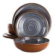 Elama Stone Oak 12-Piece Lightweight Melamine Dinnerware Set in Black