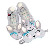 Foot Petals Critter Slipper and Sleep Mask Set