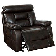 Furniture of America Lance Leatherette Recliner - Brown