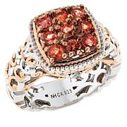 Gems by Michael Sterling Silver Padparadscha and Diamond Accent Ring