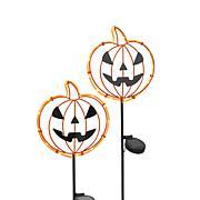 "Gerson Company 31.8""H Solar Metal Halloween Pumpkin Face Stake 2-pack"