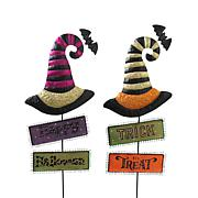 """Gerson Company 37"""" Metal Witch Hats with Halloween Signs 2-pack"""