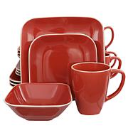 Gibson Home Square Dance 16-Piece Dinnerware Set, Red
