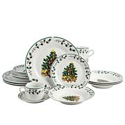 Gibson Home Tree Trimming Dinnerware Set in Christmas Theme, Set of 20