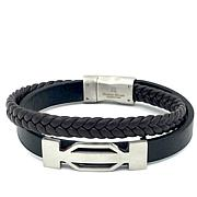 Giorgio Milano Men's Silvertone Layered Leather Bracelet