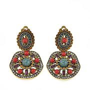 "Heidi Daus ""Deco-Page"" Bead and Crystal Drop Earrings"