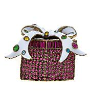 "Heidi Daus ""Glamorous Gift"" Enamel and Crystal Pin"