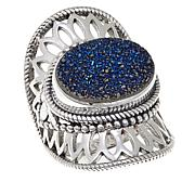 Himalayan Gems™ Blue Drusy Lace Design Sterling Silver Ring