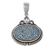 Himalayan Gems™ Caribbean Blue Drusy and White Topaz Oval Pendant