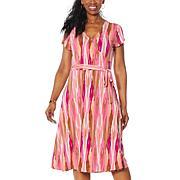 IMAN City Chic Short-Sleeve Printed Faux Wrap Dress