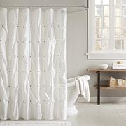 Ink + Ivy Masie Cotton Printed Shower Curtain - White