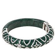 Jade of Yesteryear Sterling Silver Dark Green Jade Hinged Bangle