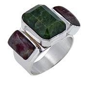 Jay King Dark Green Opal and Tourmaline Sterling Silver Ring