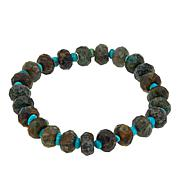 Jay King Green Diopside and Turquoise Bead Stretch Bracelet