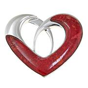 Jay King Red Coral Heart Sterling Silver Pendant