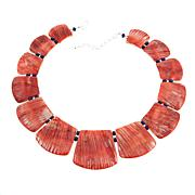 """Jay King Red Spiny Oyster Shell and Lapis 17"""" Sterling Silver Necklace"""
